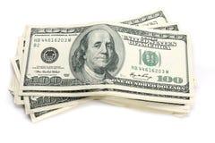 Una pila di $100 fatture Fotografie Stock Libere da Diritti
