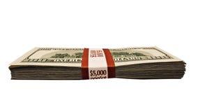 Una pila di 100 fatture del dollaro Fotografie Stock Libere da Diritti