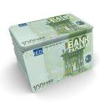 Una pila di carte di credito con un euro della maschera 100 Immagine Stock Libera da Diritti