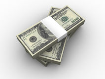 Una pila di cento dollari. Fotografia Stock