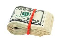 Una pila di cento dollari di banconote Fotografia Stock Libera da Diritti