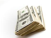 Una pila di cento fatture del dollaro Fotografia Stock Libera da Diritti