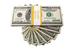 Una pila di cento fatture del dollaro Fotografie Stock Libere da Diritti