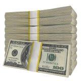 Una pila di 100 dollari della banconota della fattura U.S.A. dei fondi di fondo bianco della banconota Isolato fotografie stock
