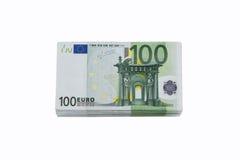 Una pila di 100 euro banconote Immagini Stock
