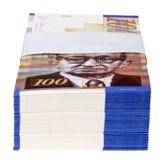 Una pila isolata di 100 fatture di NIS Fotografie Stock