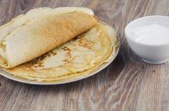 Una pila di pancake Fotografia Stock