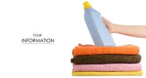 Una pila di polvere liquida degli asciugamani per lavare modello disponibile fotografia stock