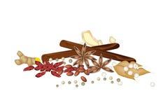 Una pila di spezie secche su fondo bianco Immagini Stock