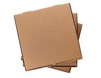 Una pila di tre contenitori marroni di pizza Immagini Stock
