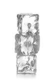 Una pila di tre cubetti di ghiaccio su fondo bianco Fotografia Stock Libera da Diritti