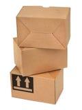 Una pila di tre scatole di cartone Fotografia Stock Libera da Diritti