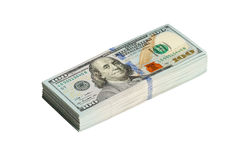 Una pila isolata di cento dollari con il percorso Fotografia Stock Libera da Diritti