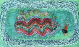 Una pintura de un freediver y de una almeja gigante ilustración del vector