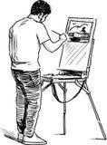 Una pintura del artista en aire abierto libre illustration