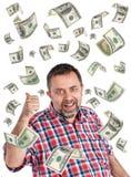 una pioggia di 100 banconote in dollari Immagini Stock