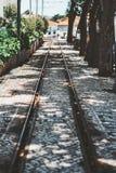 Una pista vieja del tranvía al aire libre imágenes de archivo libres de regalías