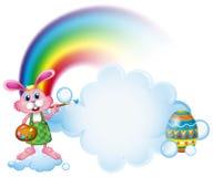 Una pittura del coniglietto vicino all'arcobaleno illustrazione di stock