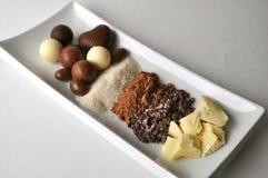 Una placa blanca con los ingredientes crudos para la fabricación de chocolate Imágenes de archivo libres de regalías