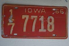 Una placa 1966 de Iowa Fotografía de archivo libre de regalías