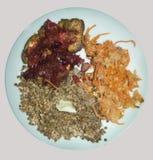 Una placa de la comida alforfón Zanahorias y salsa de la carne imagenes de archivo