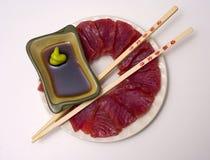 Una placa del ahi, atún amarillo de la aleta, sashimi Imagen de archivo