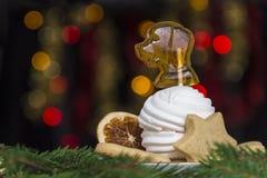 Una placa del caramelo de la melcocha de los dulces como un perro, naranja secada, pan de jengibre en fondo spruce de las ramas d Foto de archivo libre de regalías