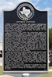 Una placca di Texas Historical Commission che thumbnailing la durata dell' Immagine Stock Libera da Diritti