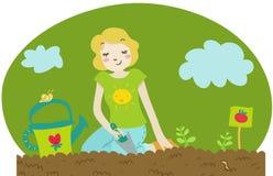 Una planta de semillero del tomate de la planta de la mujer ilustración del vector