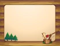 Una plantilla con los árboles de pino y el bosque tajado libre illustration