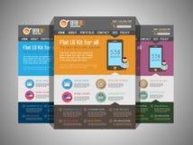 Una plantilla plana del diseño del sitio web UI de la página ilustración del vector