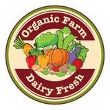 Una plantilla redonda con una etiqueta fresca orgánica de la granja y de la lechería ilustración del vector
