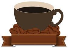 Una plantilla vacía con una taza de café Fotografía de archivo