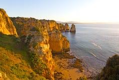 Una playa arenosa y una gaviota aisladas alt?simas a trav?s del aire en la salida del sol foto de archivo libre de regalías