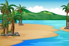Una playa con las palmeras Fotografía de archivo libre de regalías