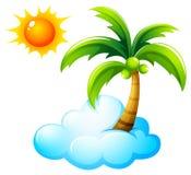 Una playa con un sol brillante libre illustration