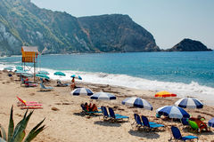 Una playa de oro en la isla del kefalonia en Grecia Imágenes de archivo libres de regalías