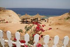 Una playa detrás de la cerca Fotografía de archivo libre de regalías