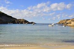 Una playa en la isla de Ibiza Fotos de archivo libres de regalías