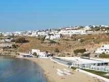Una playa en la isla de Mykonos en Grecia Imagen de archivo
