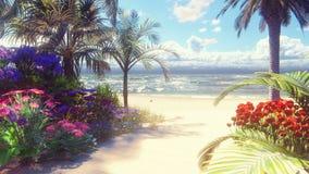 Una playa hermosa con las flores hermosas y los árboles que crecen en ella, cielo azul y arena blanca lavados por la ola oceánica almacen de metraje de vídeo