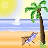 Una playa soleada con un sol brillante y una palmera hermosa Fotos de archivo libres de regalías