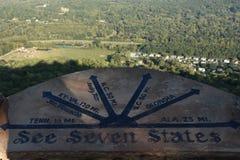 Una plaza di sette stati ai giardini della città della roccia a Chattanooga, Tennessee Fotografie Stock