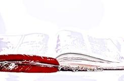 Una pluma y un libro poético ilustración del vector