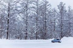 Una poca automobile sulla via nevosa immagine stock