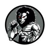 Una posa del combattente del Muttahida Majlis-E-Amal del carattere dell'uomo del leone Fotografie Stock