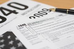 Una preparazione di 1040 imposte Fotografia Stock