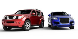 Una presentazione delle due automobili Fotografie Stock