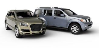 Una presentazione delle due automobili. Immagine Stock Libera da Diritti
