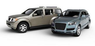 Una presentazione delle due automobili. Fotografie Stock Libere da Diritti